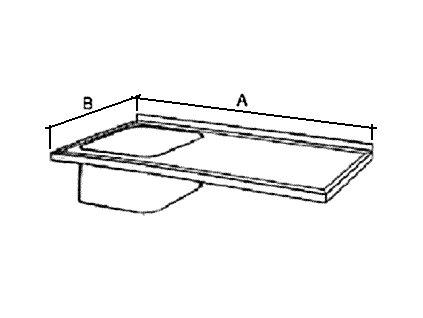 Deska mycího stolu s 1 dřezem, prolis, šírka 600 mm