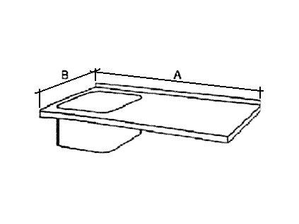 Deska mycího stolu s 1 dřezem, šírka 600 mm