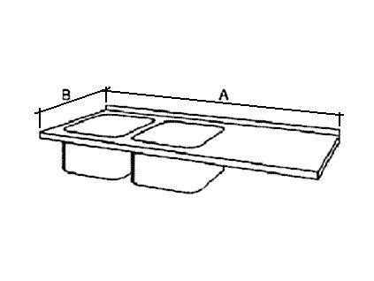 Deska mycího stolu s 2 dřezy, šírka 600 mm