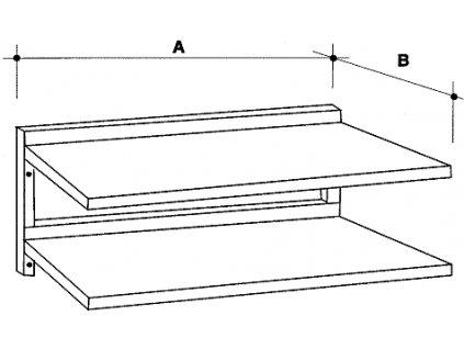 Dvojpolice nástěnná, šířka 300 mm