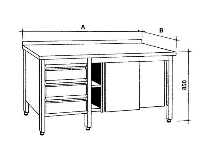 Nerezový skříňový stůl se zásuvkami a posuvnými dvířky
