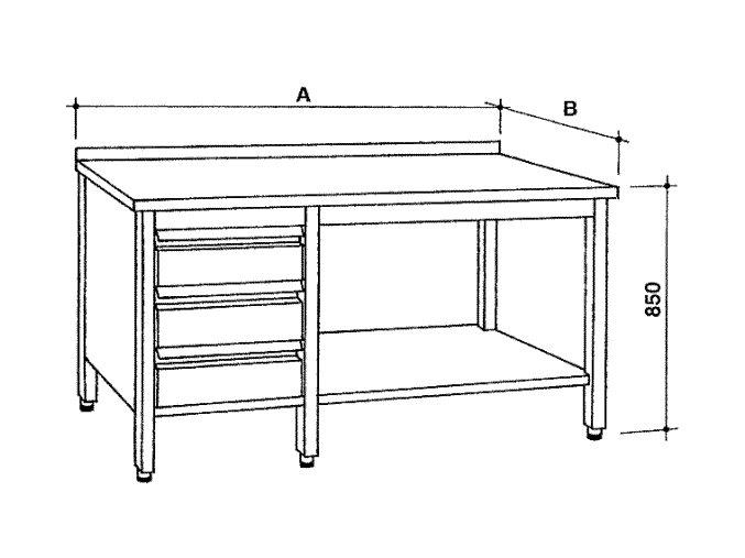 Nerezový otevřený stůl se zásuvkami