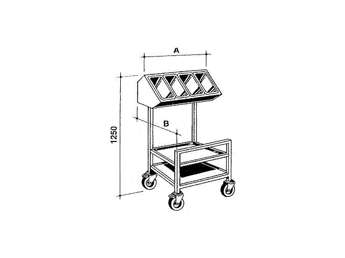 Zásobník taců a příborů, pojízdný, šířka 750 mm, hloubka 600 mm