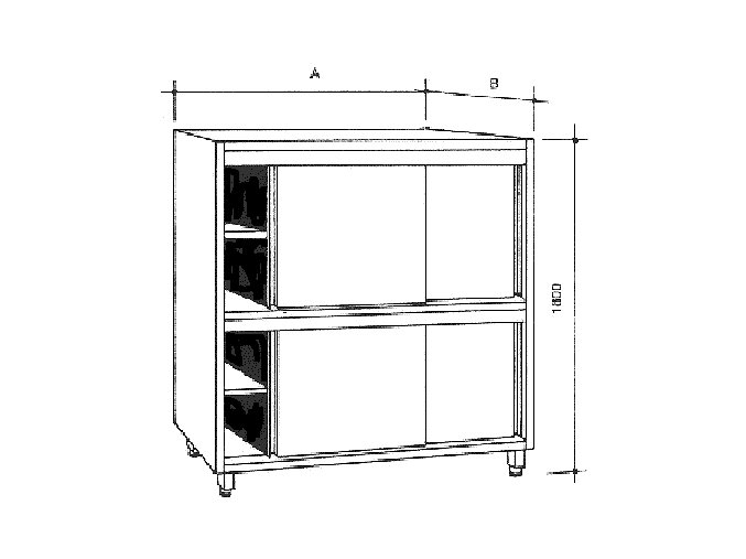 Nerezová skříň s 2 policemi, posuvné dveře, dělená