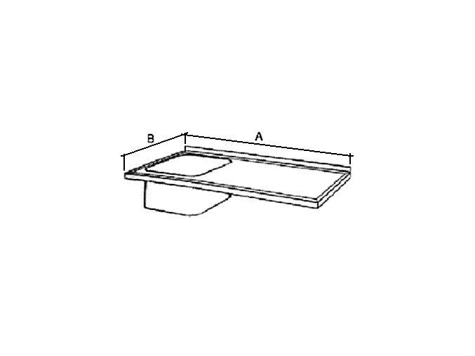 Deska mycího stolu s 1 dřezem, prolis