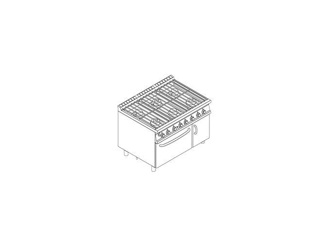 Plynový sporák vodní s plyn. troubou CFA6 912 GV