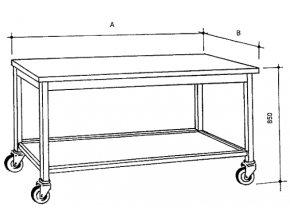 Nerezový stůl s policí pojízdný, šířka 600 mm