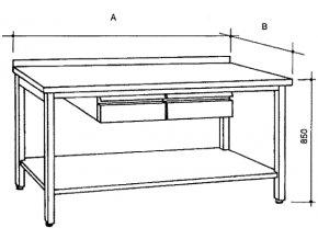 Nerezový stůl s policí a 2 zásuvkami