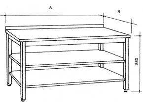 Nerezový stůl se 2 policemi