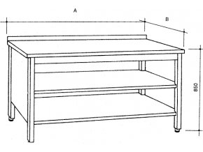 Nerezový třístranně uzavřený stůl se 2 policemi, šířka 600 mm