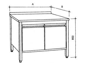 Nerezový uzavřený stůl s křídlovými dvířky, šířka 600 mm