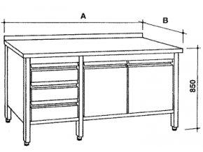 Nerezový skříňový stůl se zásuvkami a křídlovými dvířky, šířka 600 mm