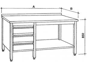 Nerezový otevřený stůl se zásuvkami, šířka 600 mm