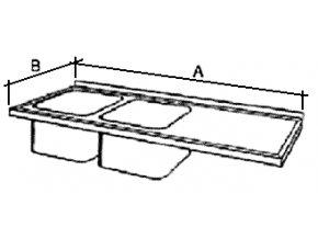 Deska mycího stolu s 2 dřezy, prolis