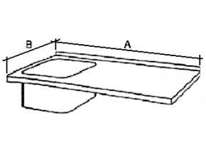 Deska mycího stolu s 1 dřezem