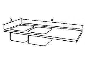 Deska mycího stolu s 2 dřezy