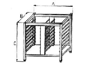 Podstavec pod konvektomat, otevřený se vsuny