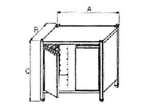 Podstavec pod konvektomat, uzavřený se vsuny a dveřmi