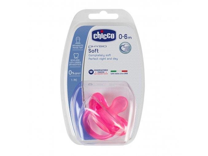 Celosilikonový dudlík Physio Soft 0-6m růžový