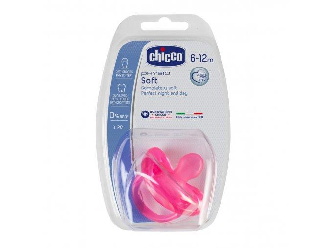 Celosilikonový dudlík Physio Soft 6-16m růžový