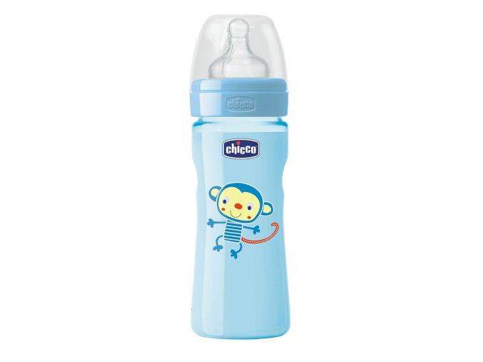 Láhev Well-Being bez BPA silikonový dudlík střední průtok 250 ml - modrá