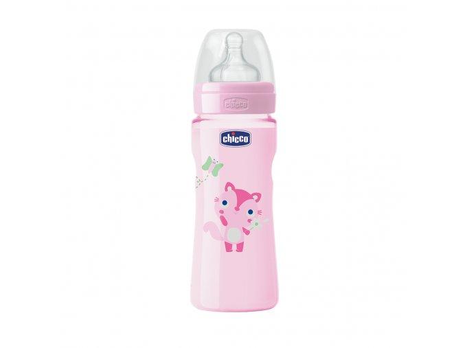 Láhev Well-Being bez BPA silikonový dudlík rychlý průtok 330 ml - růžová