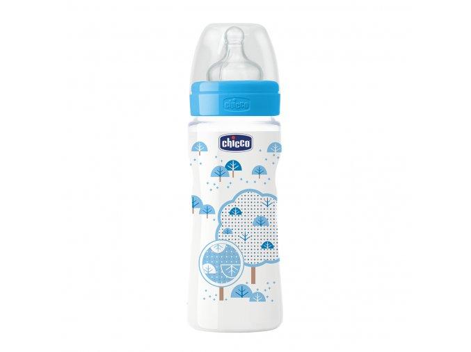 Láhev Well-Being bez BPA silikonový dudlík rychlý průtok 330 ml - modrá