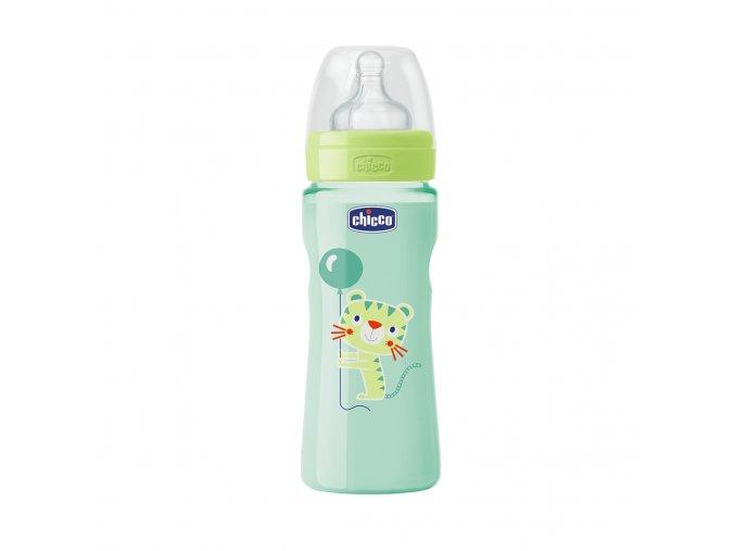 Láhev Well-Being bez BPA silikonový dudlík rychlý průtok 330 ml - neutral