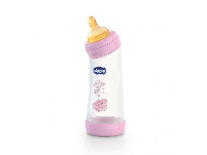 Láhev Well-Being bez BPA nahnutá kaučukový dudlík 250 ml - růžová