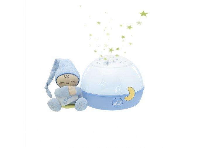 Lampička hrající noční obloha - modrá