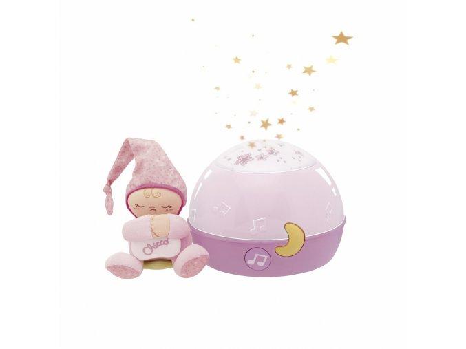 Lampička hrající noční obloha - růžová