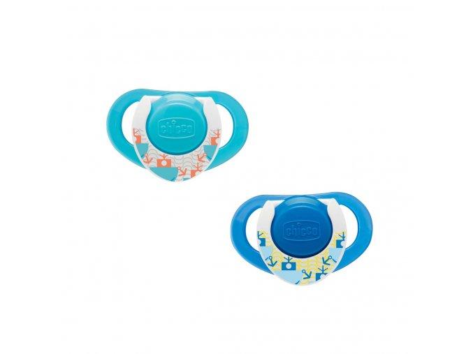 Kaučukový dudlík Physio Compact 12m+ modrý, 2ks