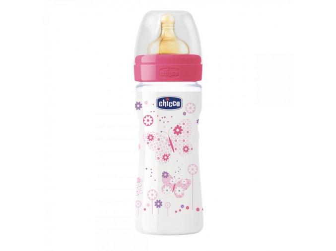 Láhev Well-Being bez BPA kaučukový dudlík střední průtok 250 ml - růžová