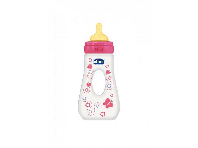 Láhev Well-Being bez BPA slza kaučukový dudlík rychlý průtok 240 ml - růžová