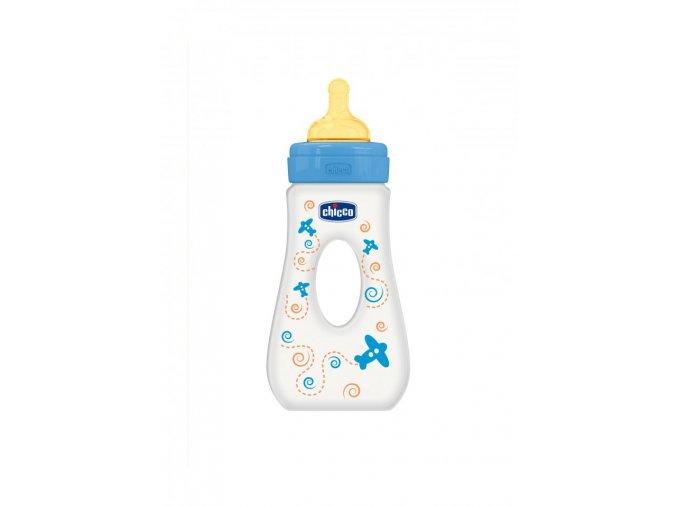 Láhev Well-Being bez BPA slza kaučukový dudlík rychlý průtok 240 ml - modrá