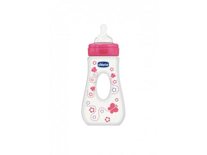 Láhev Well-Being bez BPA slza silikonový dudlík rychlý průtok 240 ml - růžová