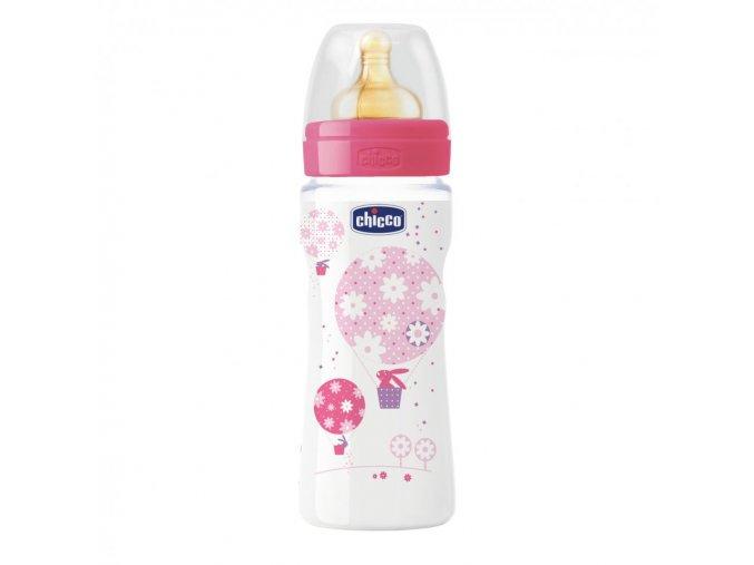 Láhev Well-Being bez BPA kaučukový dudlík rychlý průtok 330 ml - růžová