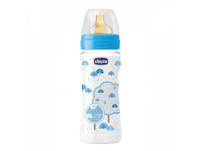 Láhev Well-Being bez BPA kaučukový dudlík rychlý průtok 330 ml - modrá