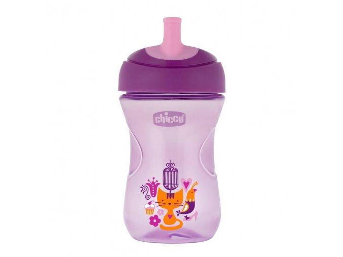 Hrneček Chicco Pokročilý s měkkým náustkem 266 ml, 12m + - fialový
