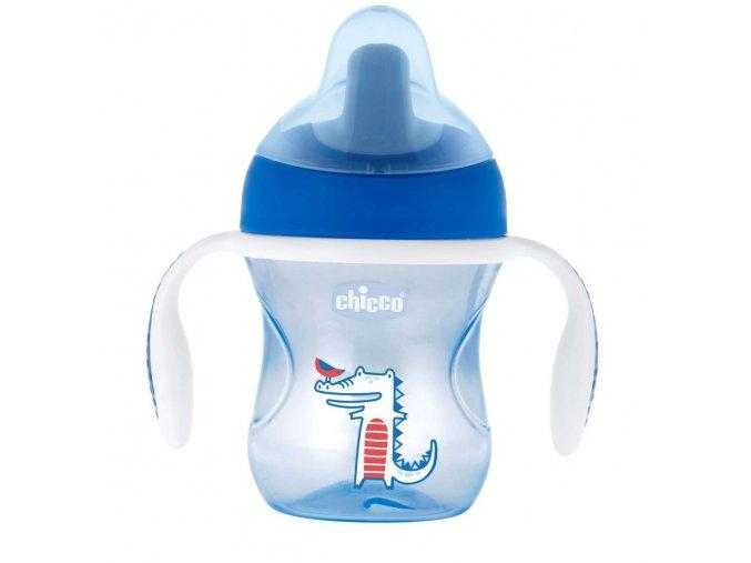 Hrneček Chicco Trénujeme s držadly 200 ml, 6m + -modrý