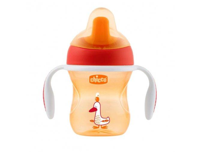 Hrneček Chicco Trénujeme s držadly 200 ml, 6m + - oranžový