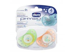 Silikonový dudlík Physio Air 4+ svítící, 2ks