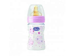 Láhev Well-Being bez BPA kaučukový dudlík normální průtok 150 ml - růžová