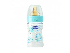 Láhev Well-Being bez BPA kaučukový dudlík normální průtok 150 ml - modrá
