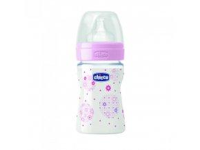 Láhev Well-Being bez BPA silikonový dudlík normální průtok 150 ml - růžová
