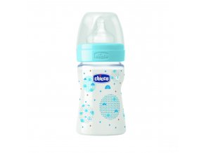 Láhev Well-Being bez BPA silikonový dudlík normální průtok 150 ml - modrá