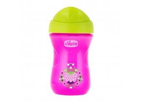 Hrneček Chicco Easy s tvrdým pítkem 266 ml, 12m + - růžovo- zelený
