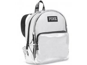 New.Victorias.Secret.PINK.MINI.Backpack.C2.A0SILVER.Iridescent.School