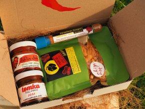 Dárkový koš chilli extra hot malý. chilli dárky