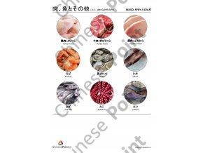 Japonské jazykové karty - Maso, ryby a další suroviny